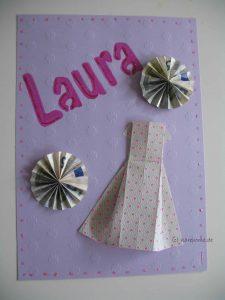 Geldgeschenk mit Origami-Kleid