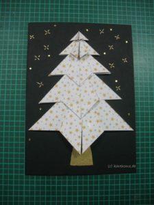 fertige Origami-Weihnachtskarte