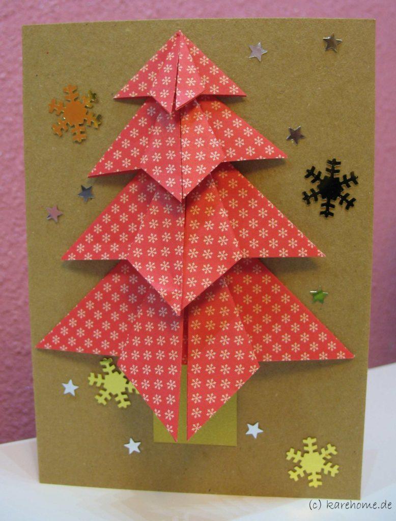 Weihnachtskarten Origami.Weihnachtskarte Mit Origami Weihnachtsbaum Karehome