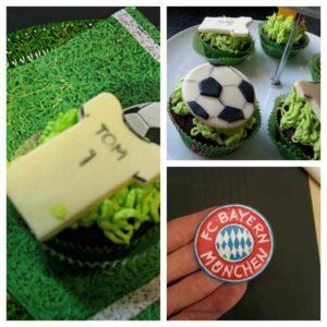 Schoko-Muffins mit Fußball-Aufleger aus Modellierschokolade