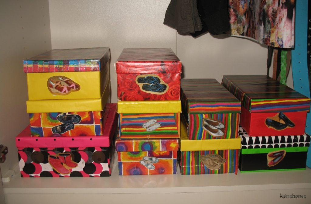 der etwas andere schuhschrank schuhkartons veredeln. Black Bedroom Furniture Sets. Home Design Ideas